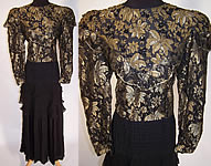 Vintage Diane Freis Fres Black Silk Gold Lace Beaded Evening Gown Dress
