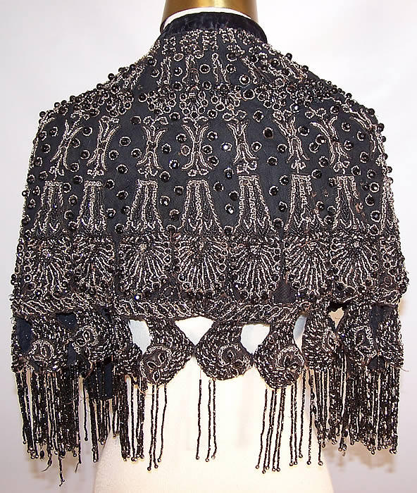 Victorian Black Net Jet & Steel Cut Beaded Fringe Evening Cape Cloak back view.