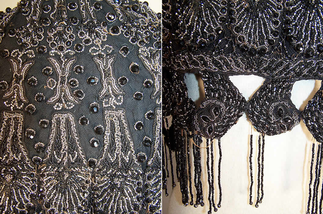 Victorian Black Net Jet & Steel Cut Beaded Fringe Evening Cape Cloak two close ups right one shows a some missing beads