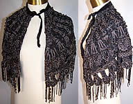 Victorian Black Net Jet & Steel Cut Beaded Fringe Evening Cape Cloak