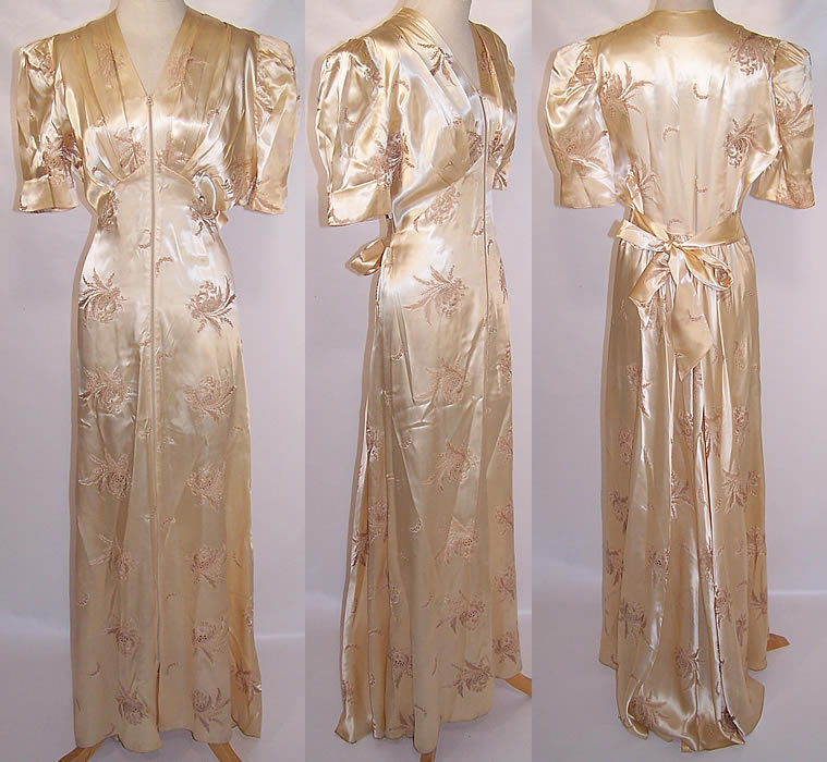 1940s Dressing Gown: 1940 Vintage White Satin Tambour Embroidery Negligee