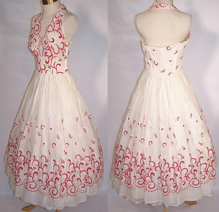 Vintage White Cotton Batiste Red Embroidered Halter Top