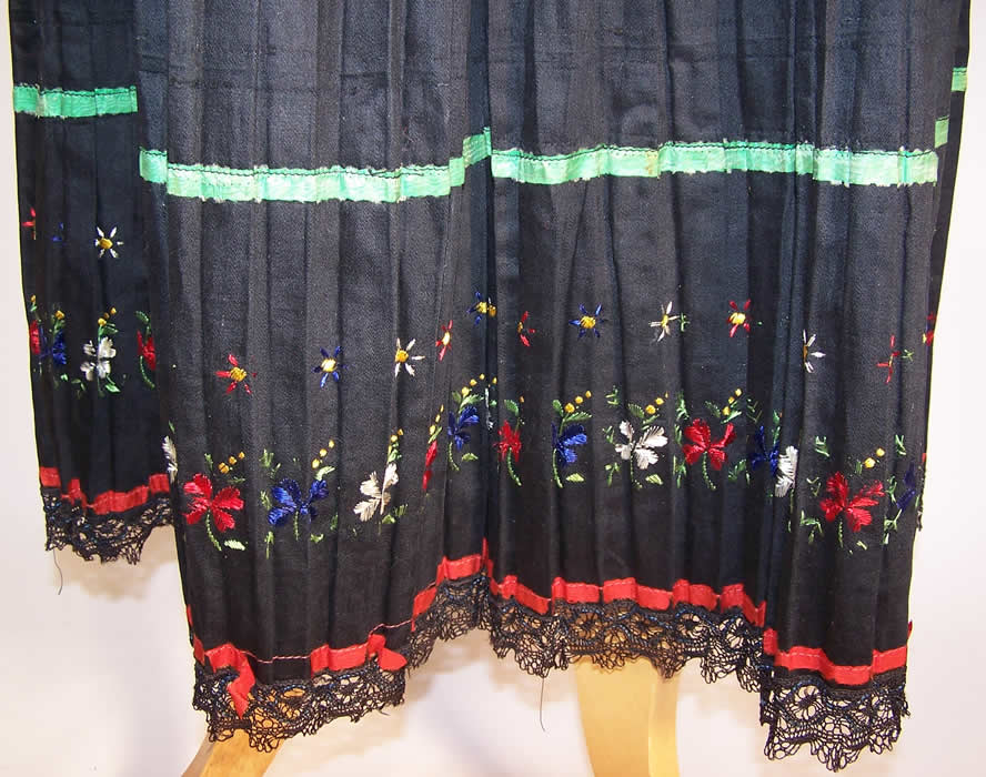 Vintage Czech Bohemia Folk Costume Pleated Embroidered