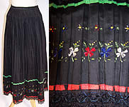 Vintage Czech Bohemia Folk Costume Pleated Floral Embroidered Apron Skirt