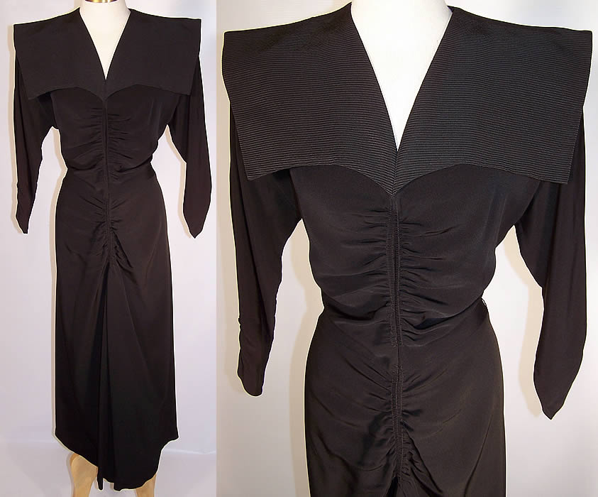 Vintage Stann California Modes Batwing Collar Black Silk Crepe Cocktail Dress