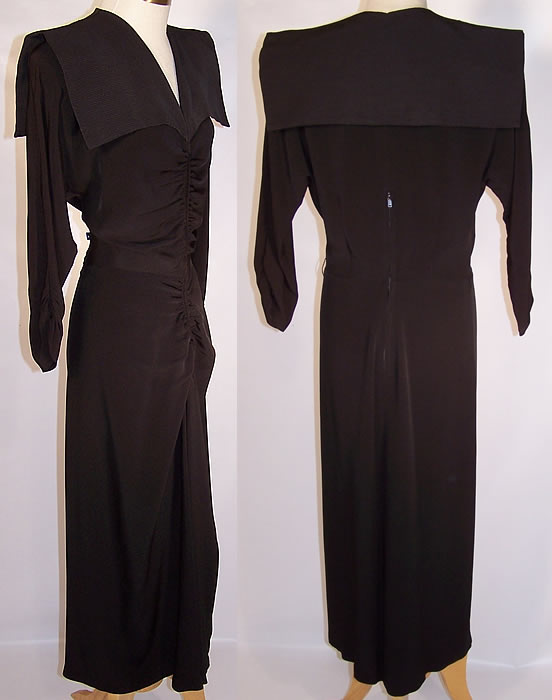 Vintage Stann California Modes Batwing Collar Black Silk Crepe Cocktail Dress side & back views