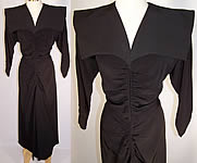 Vintage 1940s Stann California Modes Batwing Collar Black Silk Crepe Cocktail Dress