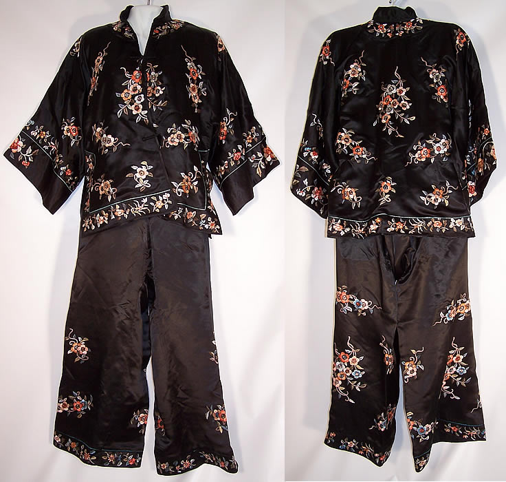 Chinese Silk Embroidered Floral Cherry Blossom Pajama Lounge Set