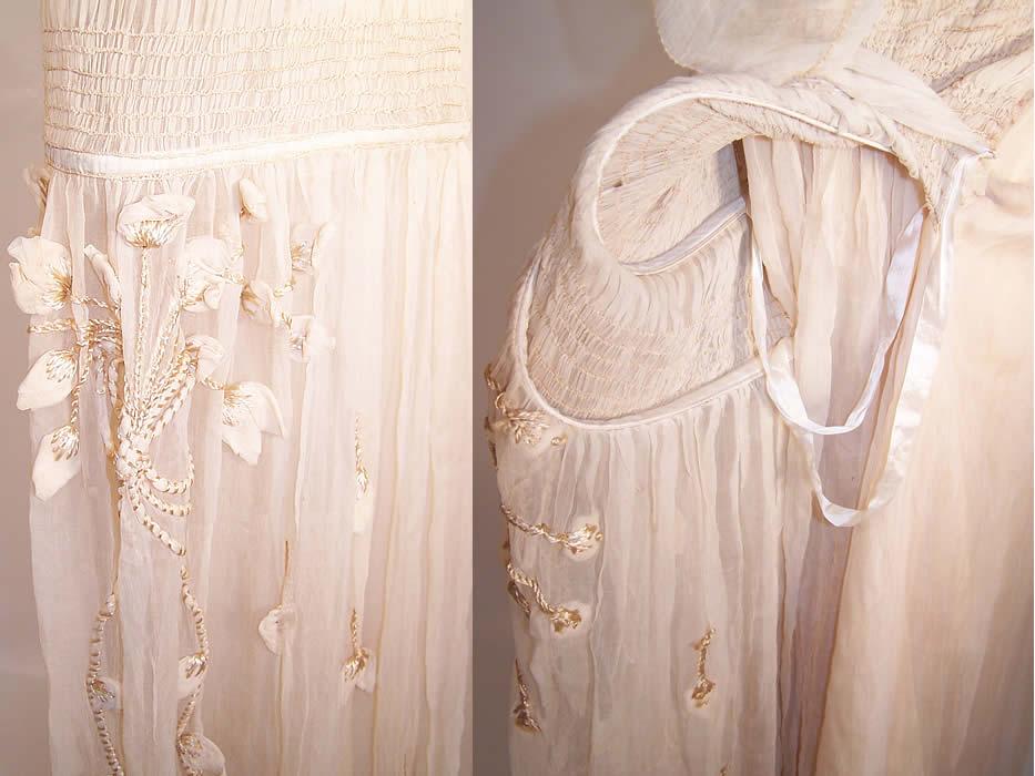Vintage Robe De Style Cream Silk Rosette Pannier Hoop