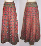 Vintage India Gujarat Zari Embroidery Mirror Beaded Lehenga Ghagra Skirt