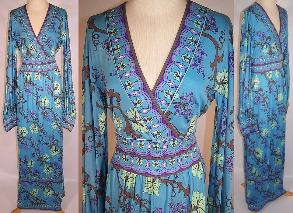 Vintage Emilio Pucci Blue Silk Grape Vine Leaf Long Boho Dress