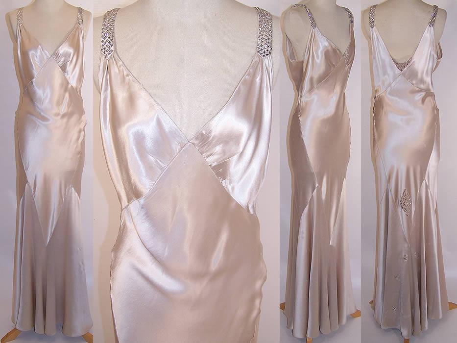 Classic Wedding Dress Satin: 1930s Vintage White Silk Satin Rhinestone Bias Cut Evening