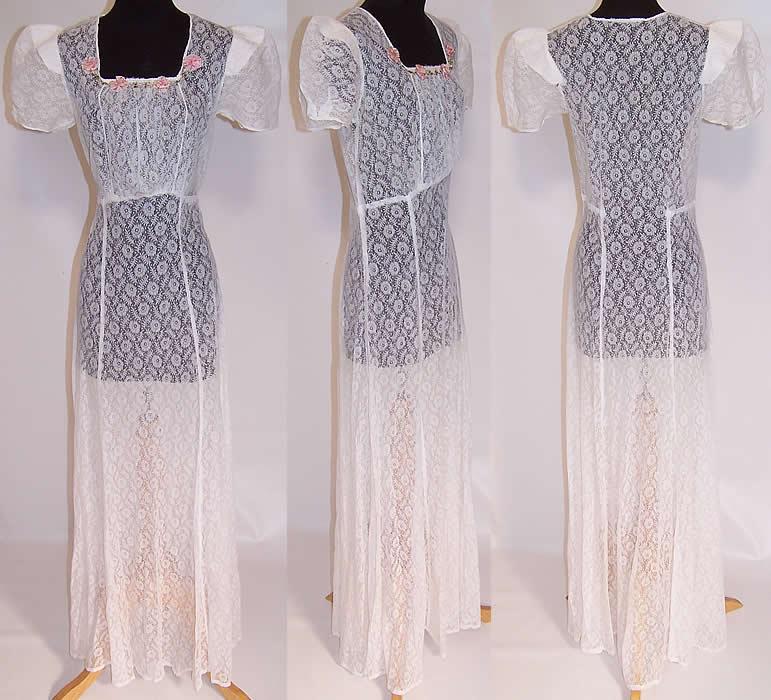 Vintage White Net Lace Pink Silk Rosette Bias Cut Long