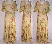 Vintage Yellow Silk Chiffon Floral Roses Print Bias Cut Garden Party Summer Dress