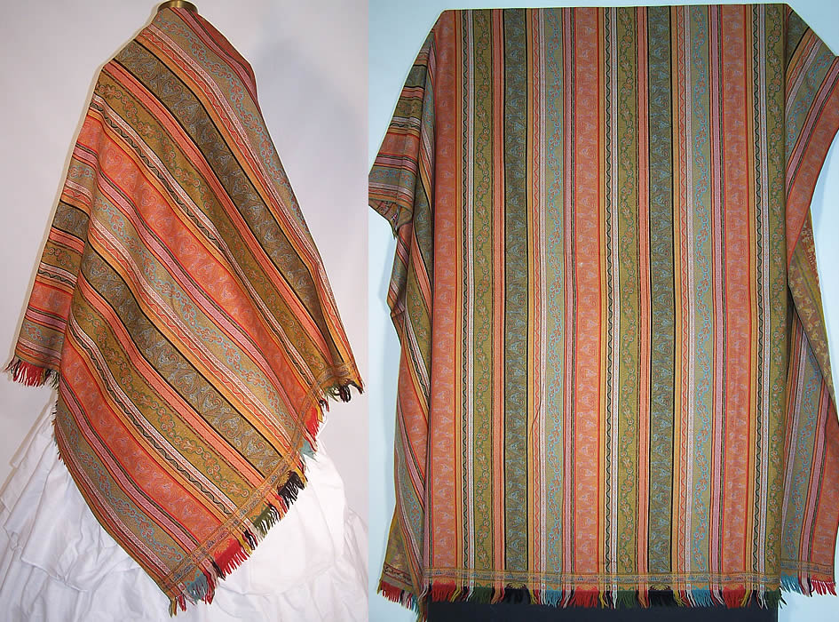 Victorian Antique Jacquard Hand Loom Wool Paisley Striped Shawl 70x70 inches