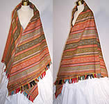 Victorian 1880s Antique Jacquard Hand Loom Wool Paisley Striped Shawl 70x70