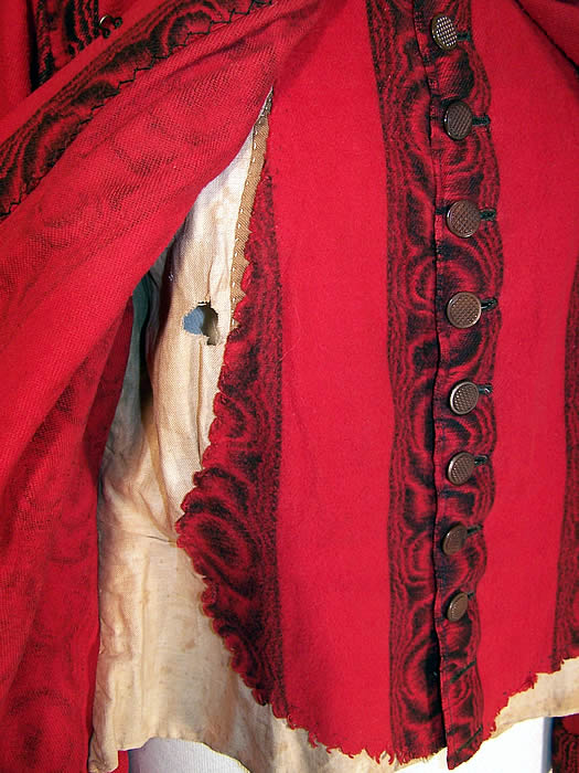 Victorian Red & Black Flannel Morning Robe Vest Bodice Bed Jacket  close up.