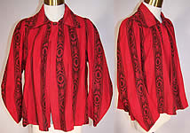 Victorian Red & Black Flannel Morning Robe Vest Bodice Bed Jacket
