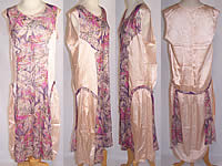 Vintage Art Deco Purple Floral Lamé Silver Metallic Pink Silk Drop Waist Dress
