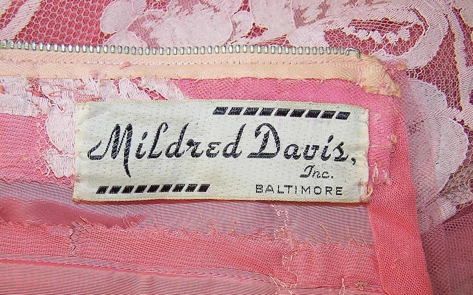 Vintage Mildred Davis Pink Lace Tulle Net Strapless Formal
