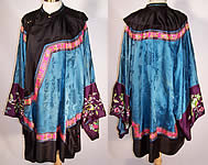 Antique Chinese Silk Embroidered Butterfly Pomegranate Sleeve Band Cuff Robe