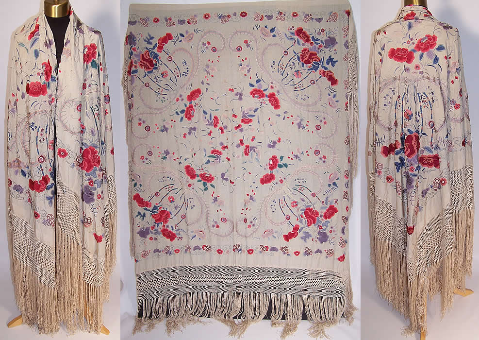 Antique Silk Embroidered Chinese Peacock Feather Floral Canton Piano Shawl
