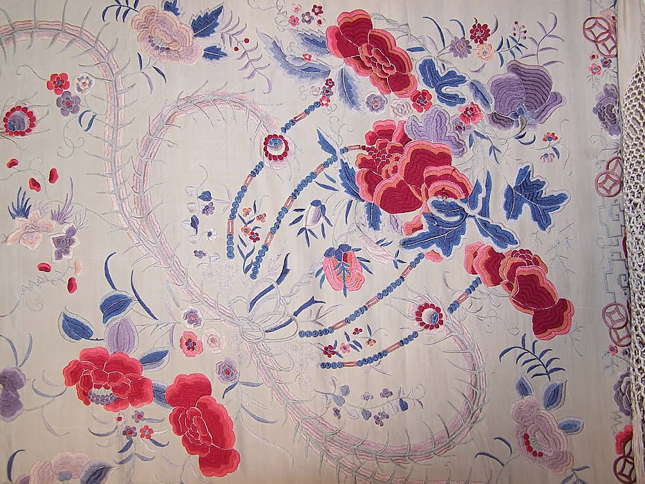 Antique Silk Embroidered Chinese Peacock Feather Floral Canton Piano Shawl close up
