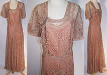 Vintage 1940s Ecru Net Floral Lace Formal Bridesmaid Dress & Slip