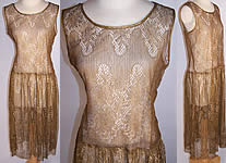 Vintage 1920s Art Deco Gold Metallic Lamé Lace Drop Waist Flapper Dress