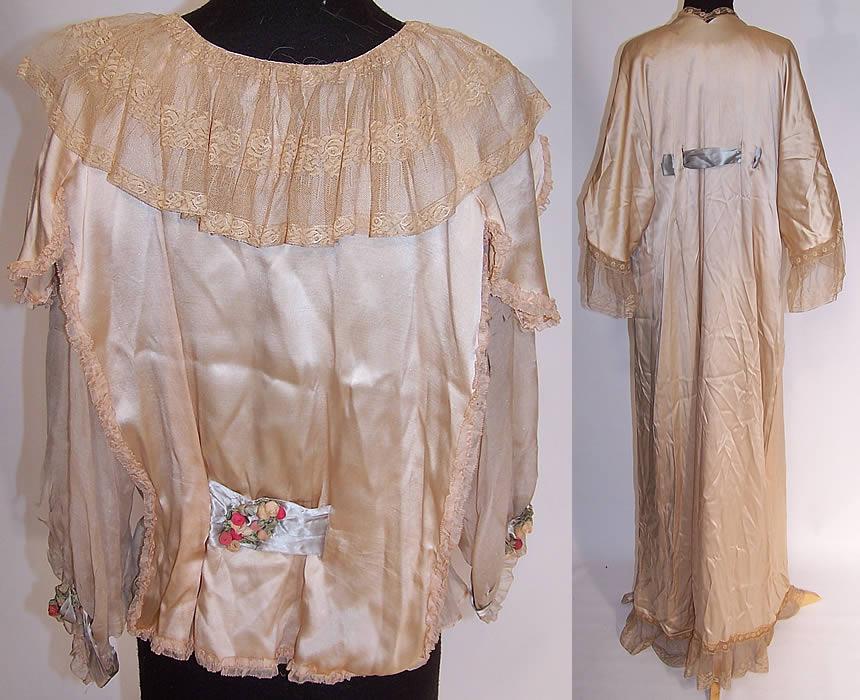 Vintage Rosa Pichon Paris Silk Rosette Lace Negligee