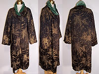 Art Deco Vintage Black Velvet Gold Stenciled Oak Maple Leaf Cocoon Opera Coat