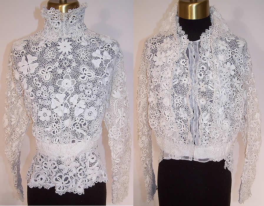 Edwardian Antique White Irish Crochet Lace High Collar Blouse Bodice