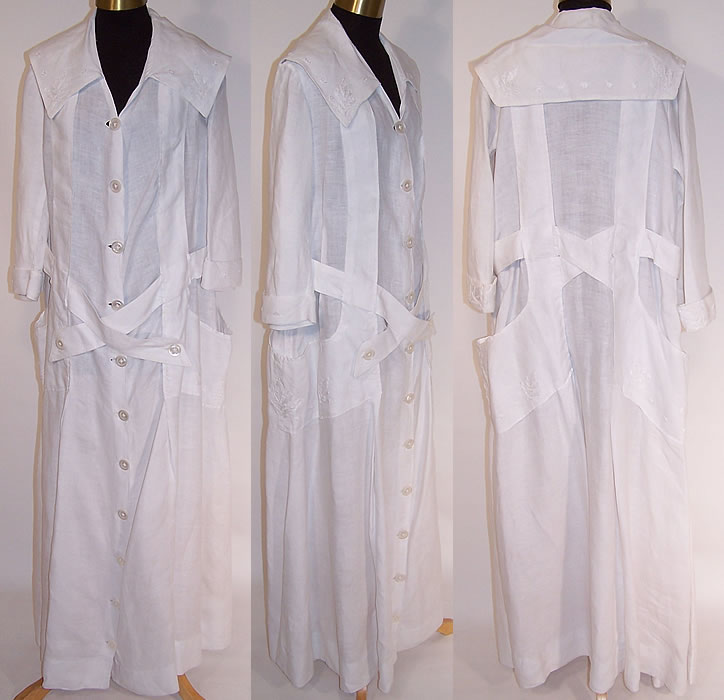 Women's White Linen Embroidered Belted Long Duster Coat