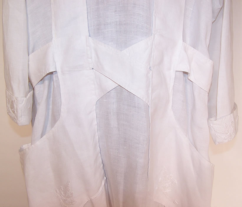 Edwardian Women S White Linen Embroidered Belted Long
