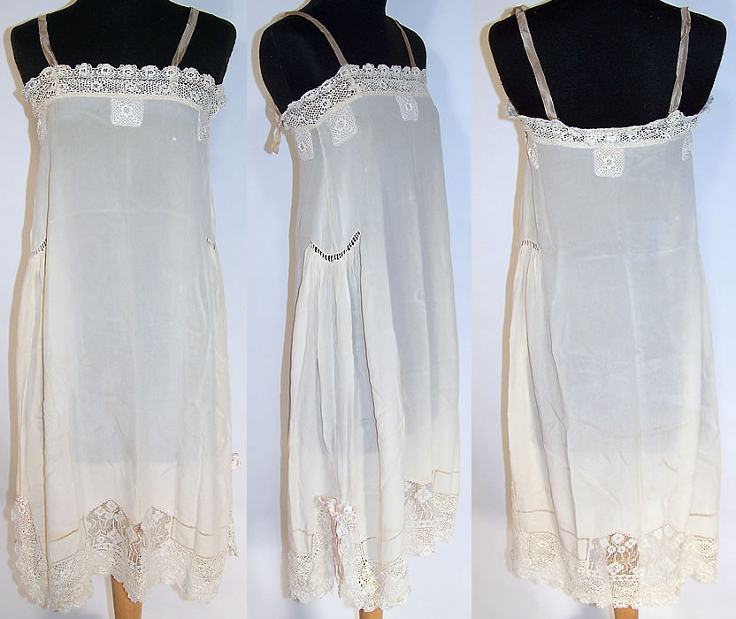 Vintage White Silk Irish Crochet Lace Lingerie Chemise Shift Slip Dress