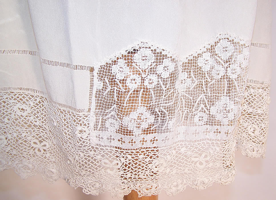 Vintage White Silk Irish Crochet Lace Lingerie Chemise Shift Slip Dress close up