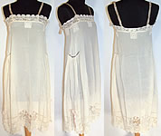 Vintage 1920s White Silk Irish Crochet Lace Lingerie Chemise Shift Slip Dress