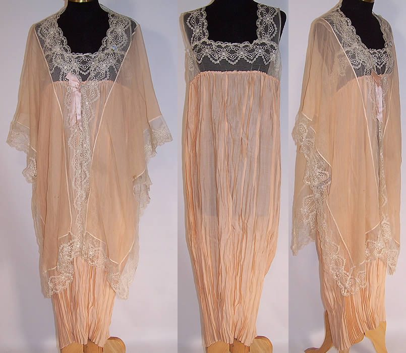 fa112ee2e Vintage Peach Silk Chiffon Lace Rosette Negligee Peignoir Robe   Chemise  Slip Nightgown