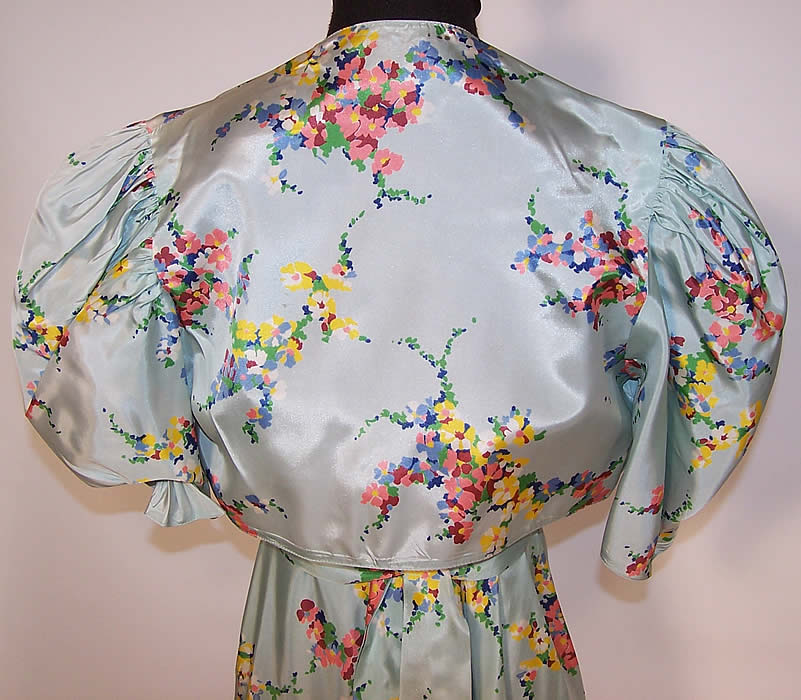 Vintage Blue Floral Pastel Rayon Taffeta Dress Gown And