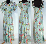 Vintage 1940s Blue Floral Pastel Rayon Taffeta Dress Gown Bolero Jacket