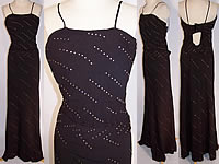 Vintage 1940s Black Crepe Rhinestone Sexy Bombshell Evening Gown