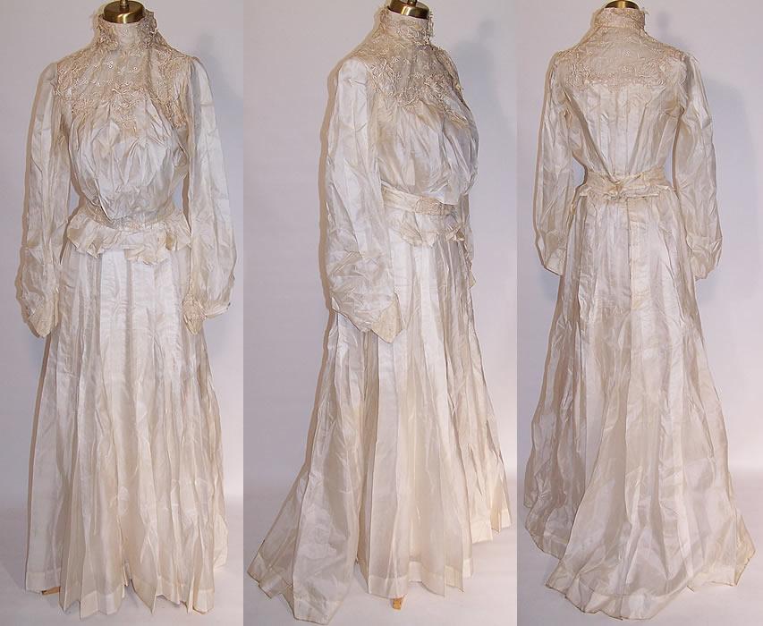 Victorian Silk Wedding Dress Blouse Skirt Petticoat Camisole Stockings ...