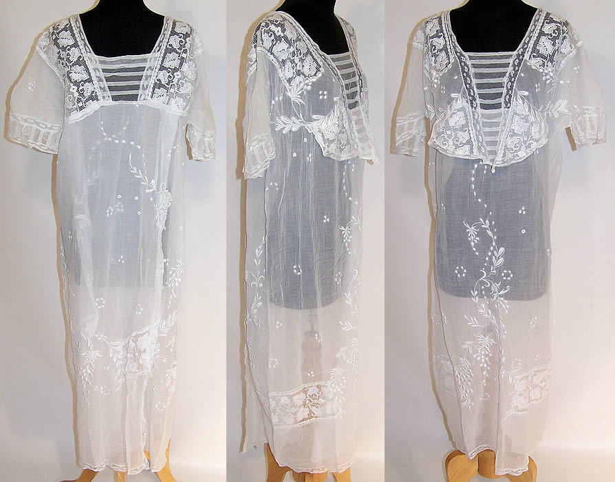 3b4f48f68 Vintage 1920s White Embroidered Batiste Filet Lace Nightgown Dress ...