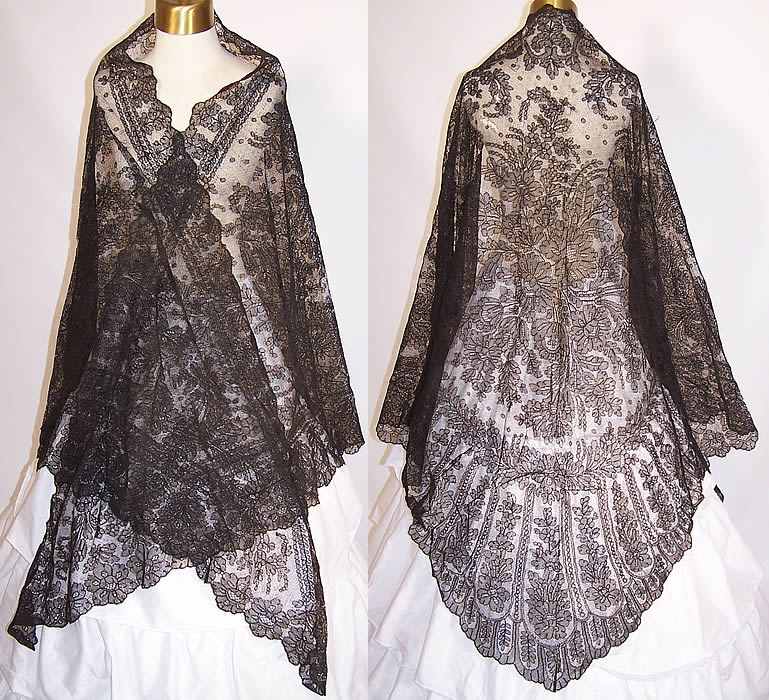 Victorian Civil War Antique Black Chantilly Lace Mantilla ...