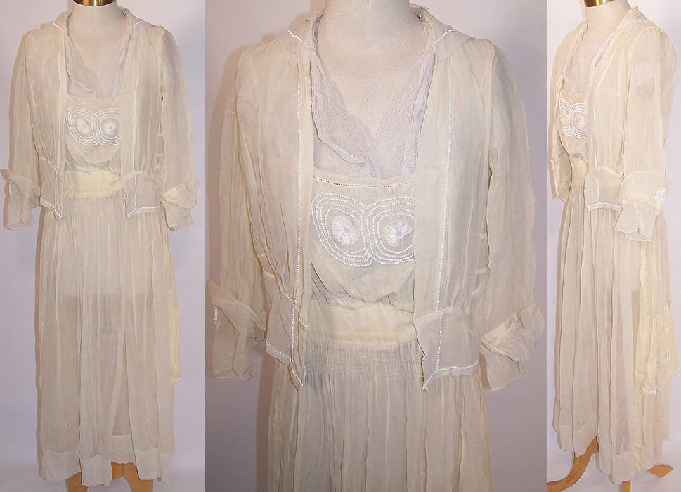 Edwardian Titanic Antoinette C. Worrall Yellow Muslin White Beaded Dress