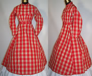 Victorian Civil War 1860s Girls Red & White Plaid Check Wool Hoop Skirt Dress