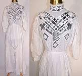 Edwardian Hardanger Embroidery Lace White Linen Blouse Skirt Dress
