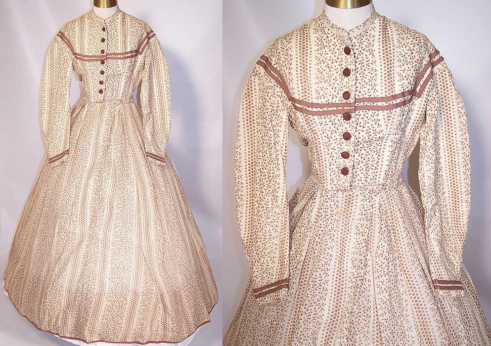 Victorian Civil War Brown Amp White Wool Challis Print Hoop