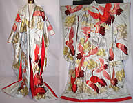 Vintage Japanese Crane Red Silver Gold Embroidered Uchikake Wedding Kimono