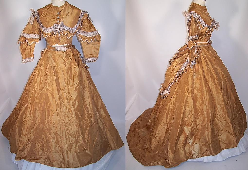 Victorian Golden Taupe Silk Taffeta Hoop Skirt Train Wedding Gown Dress